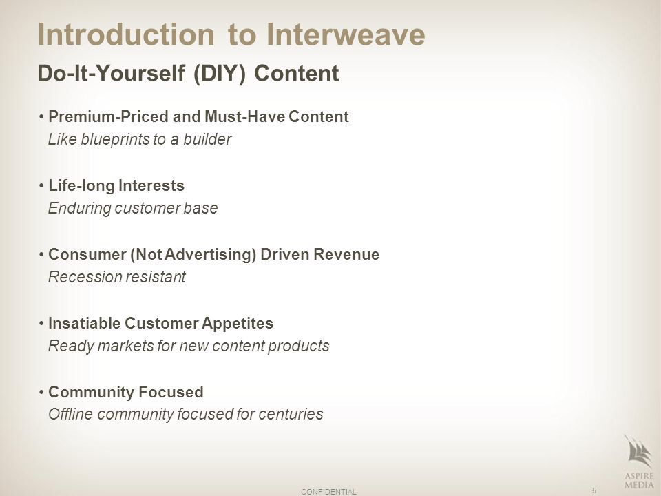 Introduction to Interweave Do-It-Yourself (DIY) Content Premium-Priced and Must-Have Content Like blueprints to a builder Life-long Interests Enduring customer base Consumer (Not Advertising) Driven Revenue Recession resistant Insatiable Customer Appetites Ready markets for new content products Community Focused Offline community focused for centuries 5 CONFIDENTIAL
