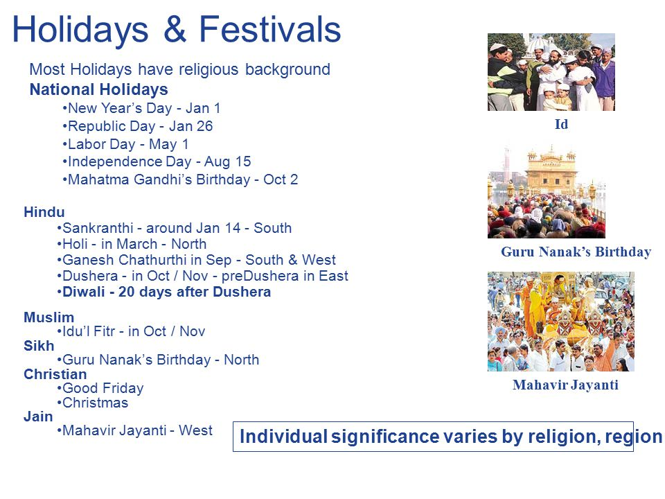 Holidays & Festivals Most Holidays have religious background National Holidays New Year's Day - Jan 1 Republic Day - Jan 26 Labor Day - May 1 Independ