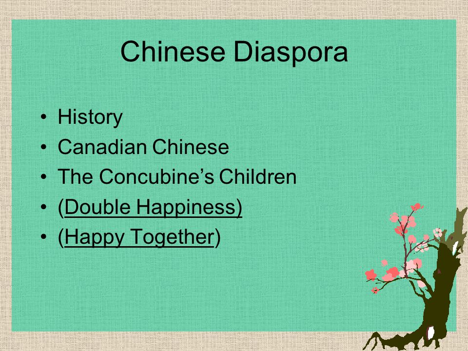 Chinese Diaspora History Canadian Chinese The Concubine's Children (Double Happiness) (Happy Together)