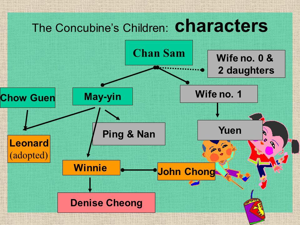 The Concubine's Children: characters Chan Sam May-yin Wife no. 1 Yuen Ping & Nan Winnie Chow Guen Leonard (adopted) Denise Cheong Wife no. 0 & 2 daugh