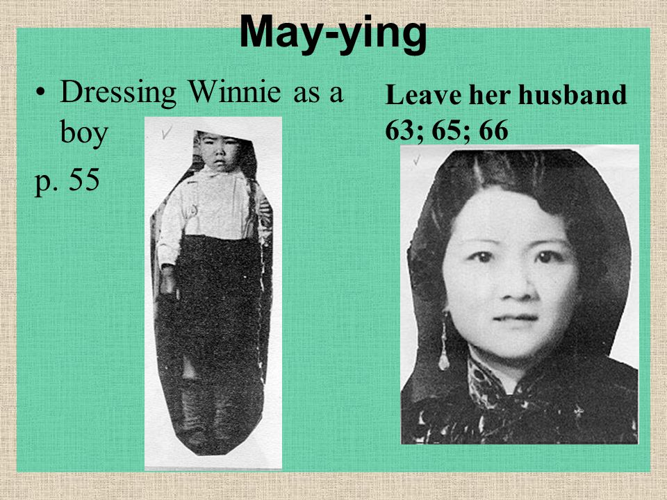 May-ying Dressing Winnie as a boy p. 55 Leave her husband 63; 65; 66