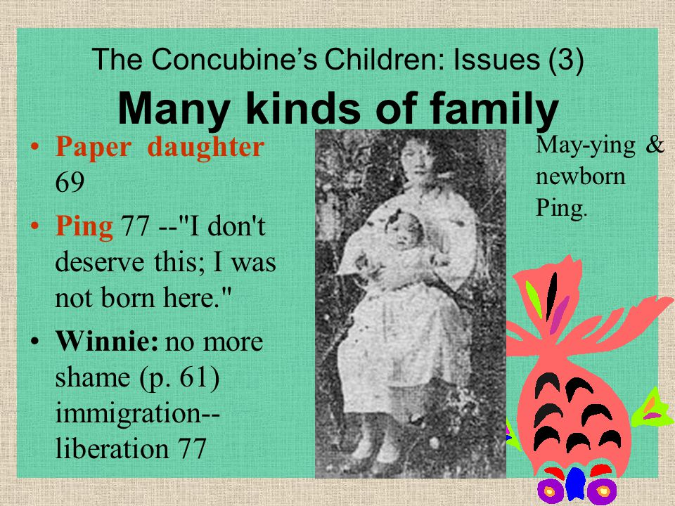 The Concubine's Children: Issues (3) Many kinds of family Paper daughter 69 Ping 77 -- I don t deserve this; I was not born here. Winnie: no more shame (p.