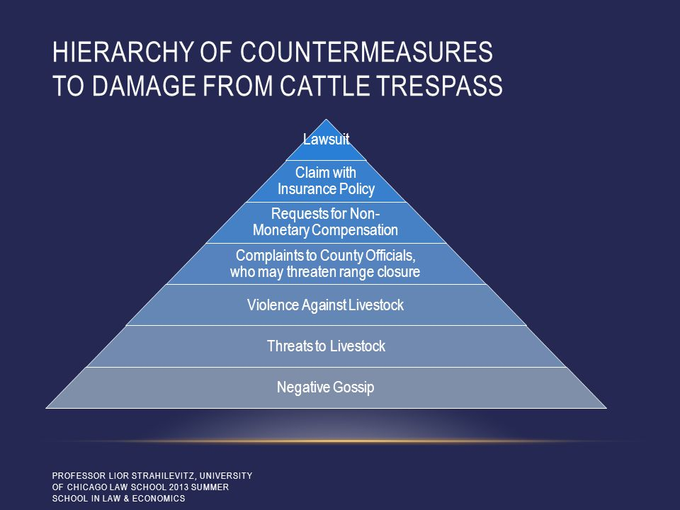 HIERARCHY OF COUNTERMEASURES TO DAMAGE FROM CATTLE TRESPASS Lawsuit Claim with Insurance Policy Requests for Non- Monetary Compensation Complaints to County Officials, who may threaten range closure Violence Against Livestock Threats to Livestock Negative Gossip PROFESSOR LIOR STRAHILEVITZ, UNIVERSITY OF CHICAGO LAW SCHOOL 2013 SUMMER SCHOOL IN LAW & ECONOMICS