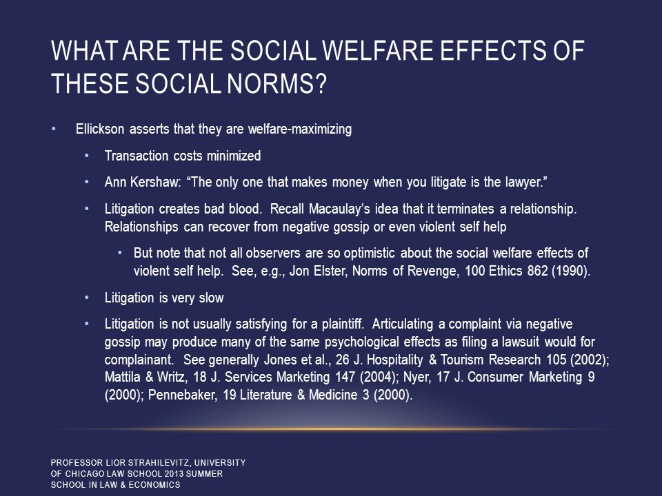 WHAT ARE THE SOCIAL WELFARE EFFECTS OF THESE SOCIAL NORMS? Ellickson asserts that they are welfare-maximizing Transaction costs minimized Ann Kershaw: