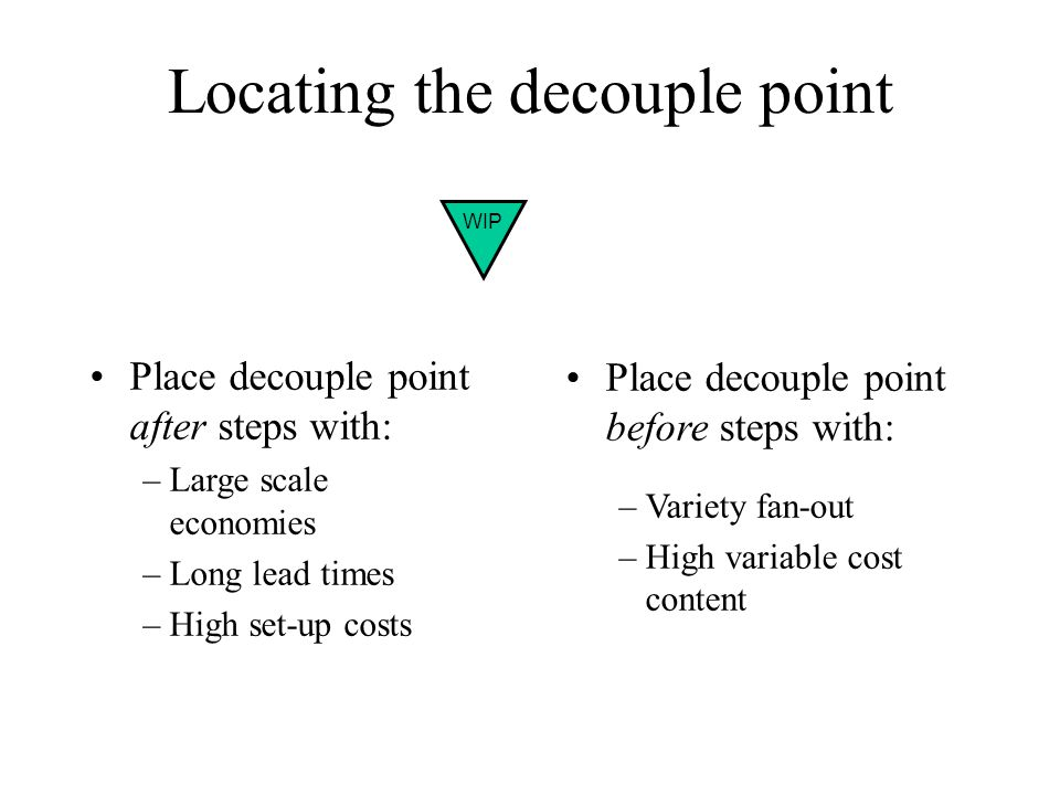 Locating the decouple point Place decouple point after steps with: –Large scale economies –Long lead times –High set-up costs Place decouple point before steps with: –Variety fan-out –High variable cost content WIP