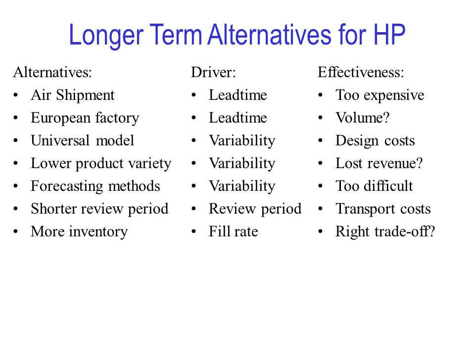 Longer Term Alternatives for HP Alternatives: Air Shipment European factory Universal model Lower product variety Forecasting methods Shorter review period More inventory Driver: Leadtime Variability Review period Fill rate Effectiveness: Too expensive Volume.