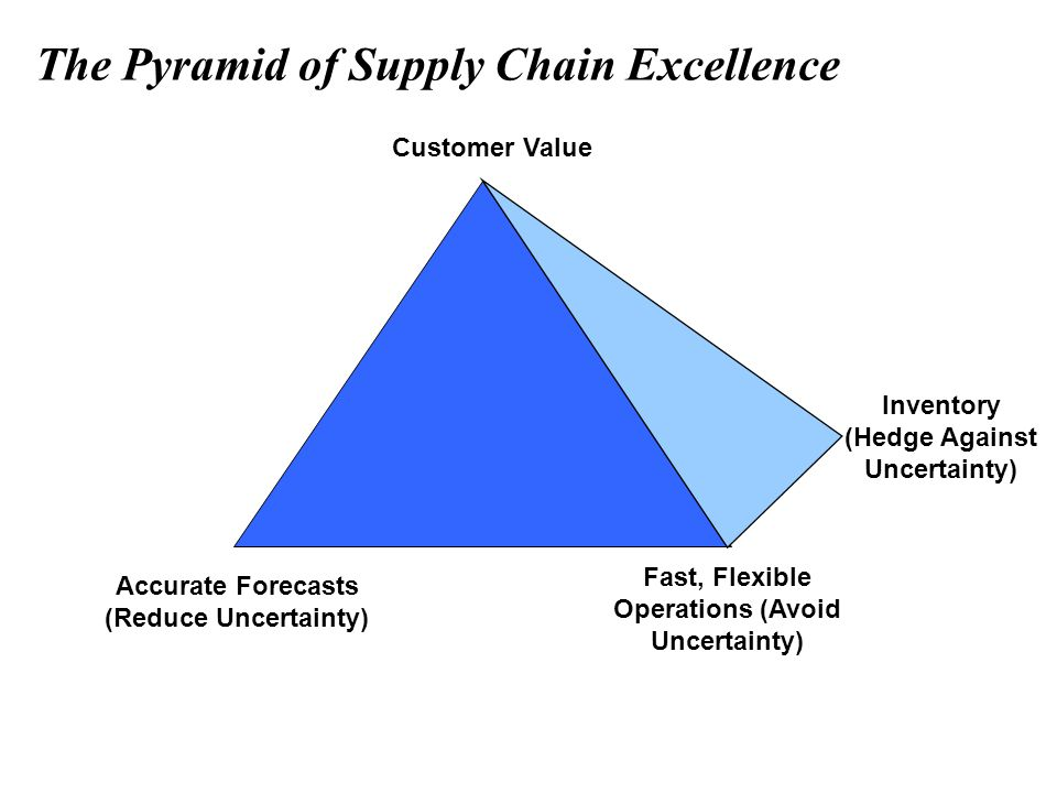 The Pyramid of Supply Chain Excellence Customer Value Fast, Flexible Operations (Avoid Uncertainty) Inventory (Hedge Against Uncertainty) Accurate For