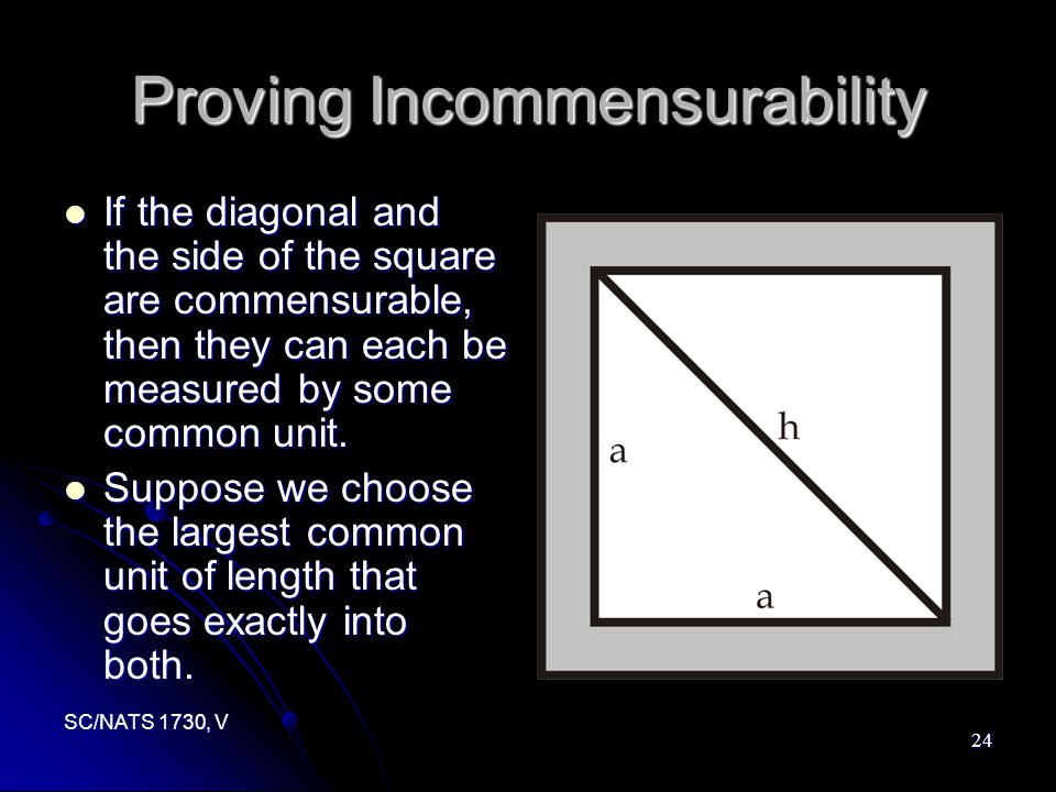 SC/NATS 1730, V 24 Proving Incommensurability If the diagonal and the side of the square are commensurable, then they can each be measured by some common unit.