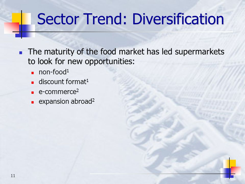 11 Sector Trend: Diversification The maturity of the food market has led supermarkets to look for new opportunities: non-food 1 discount format 1 e-commerce 2 expansion abroad 2