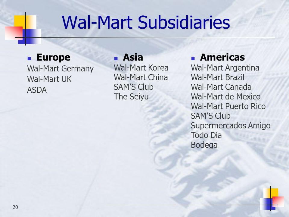 20 Wal-Mart Subsidiaries Europe Wal-Mart Germany Wal-Mart UK ASDA Asia Wal-Mart Korea Wal-Mart China SAM'S Club The Seiyu Americas Wal-Mart Argentina