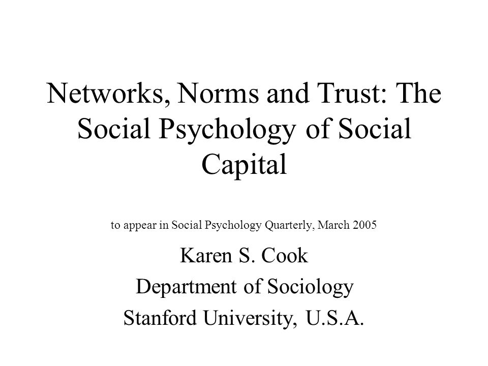 Link between social exchange relations and social capital Relations of social exchange among networked actors are one form of social capital (separate from norms) Lin (2002) - social capital - defined as the diversity of resources that can be accessed through network ties Social capital - has one clear empirical referent in this formulation