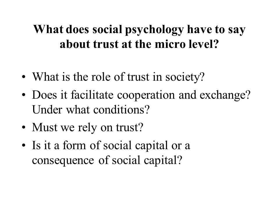 Networks, Norms and Trust Networks - not norms and trust are the sources of social capital we use for various purposes Norms produce social control - mainly effective in close communities, monitoring and sanctioning are less problematic Trust leads us to take risks of cooperating with others to enter many social relations and in economic relations it fills in the gaps - incomplete contracts, non-binding agreements