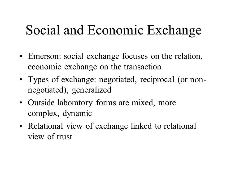 Recent work on trust and exchange Yamagishi et.al.