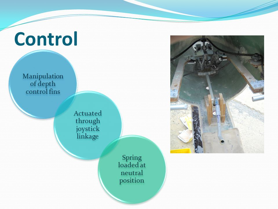 Manipulation of depth control fins Actuated through joystick linkage Spring loaded at neutral position Control