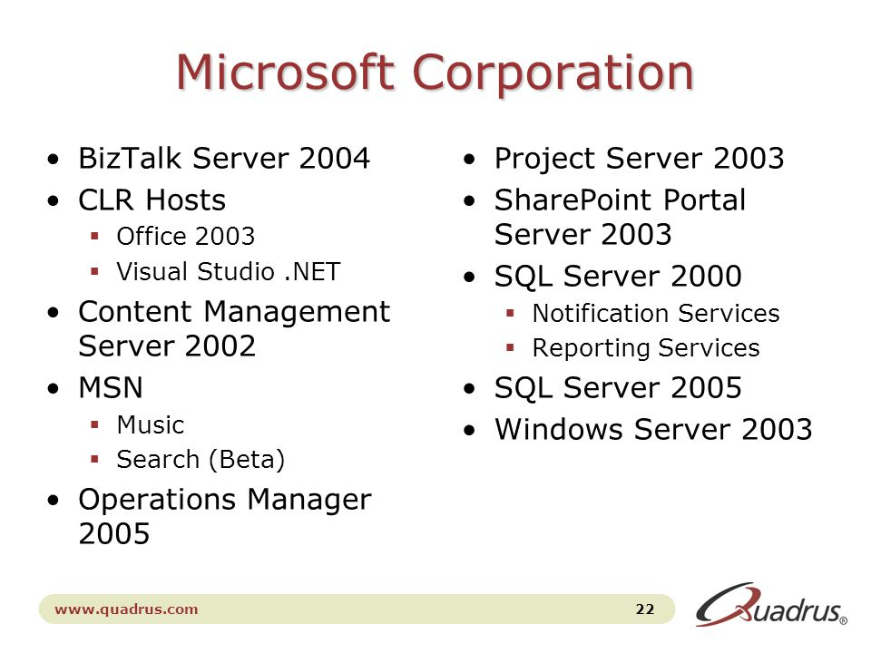 www.quadrus.com 22 Microsoft Corporation BizTalk Server 2004 CLR Hosts  Office 2003  Visual Studio.NET Content Management Server 2002 MSN  Music  Search (Beta) Operations Manager 2005 Project Server 2003 SharePoint Portal Server 2003 SQL Server 2000  Notification Services  Reporting Services SQL Server 2005 Windows Server 2003