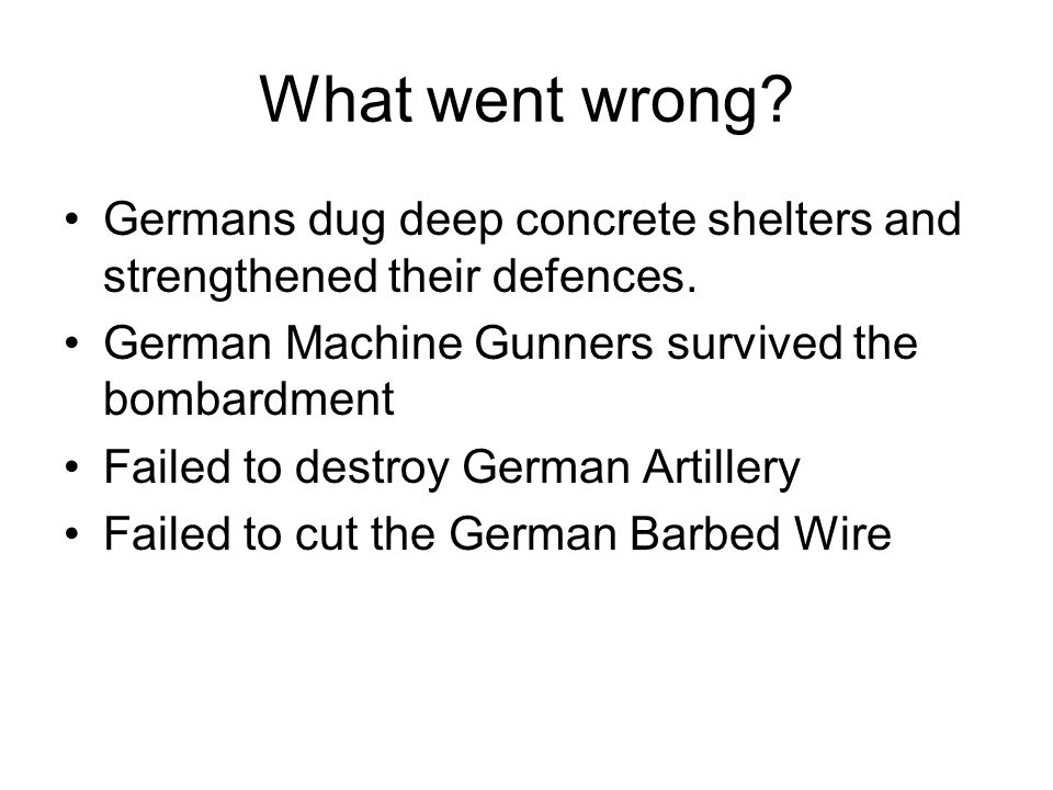 What went wrong. Germans dug deep concrete shelters and strengthened their defences.