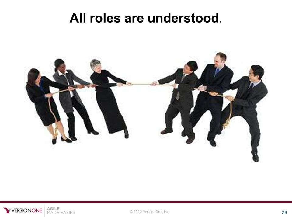 © 2012 VersionOne, Inc. 29 All roles are understood.