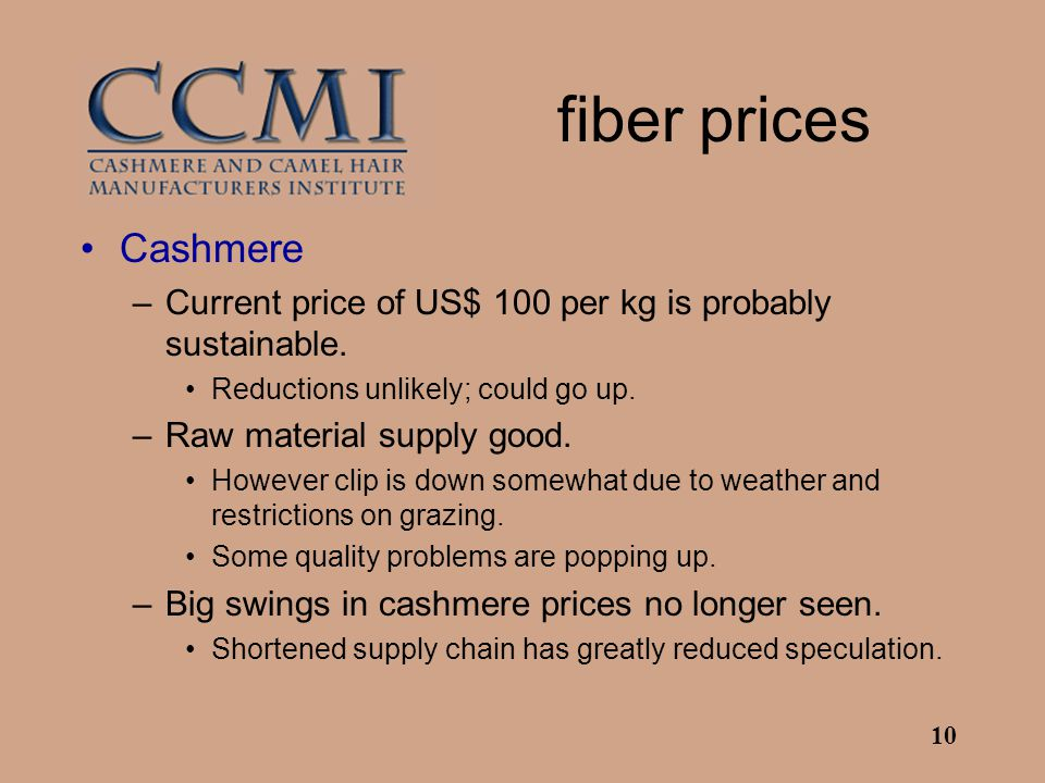 10 fiber prices Cashmere –Current price of US$ 100 per kg is probably sustainable.