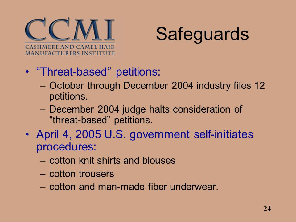 """24 Safeguards """"Threat-based"""" petitions: –October through December 2004 industry files 12 petitions. –December 2004 judge halts consideration of """"threa"""