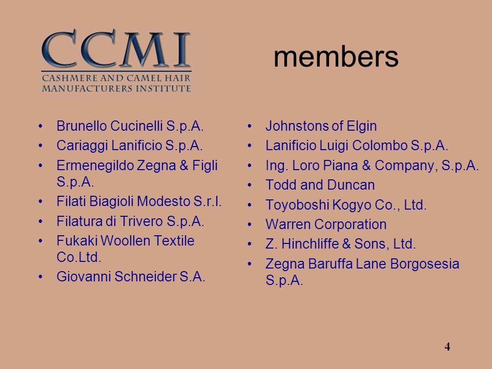 4 members Brunello Cucinelli S.p.A. Cariaggi Lanificio S.p.A. Ermenegildo Zegna & Figli S.p.A. Filati Biagioli Modesto S.r.l. Filatura di Trivero S.p.