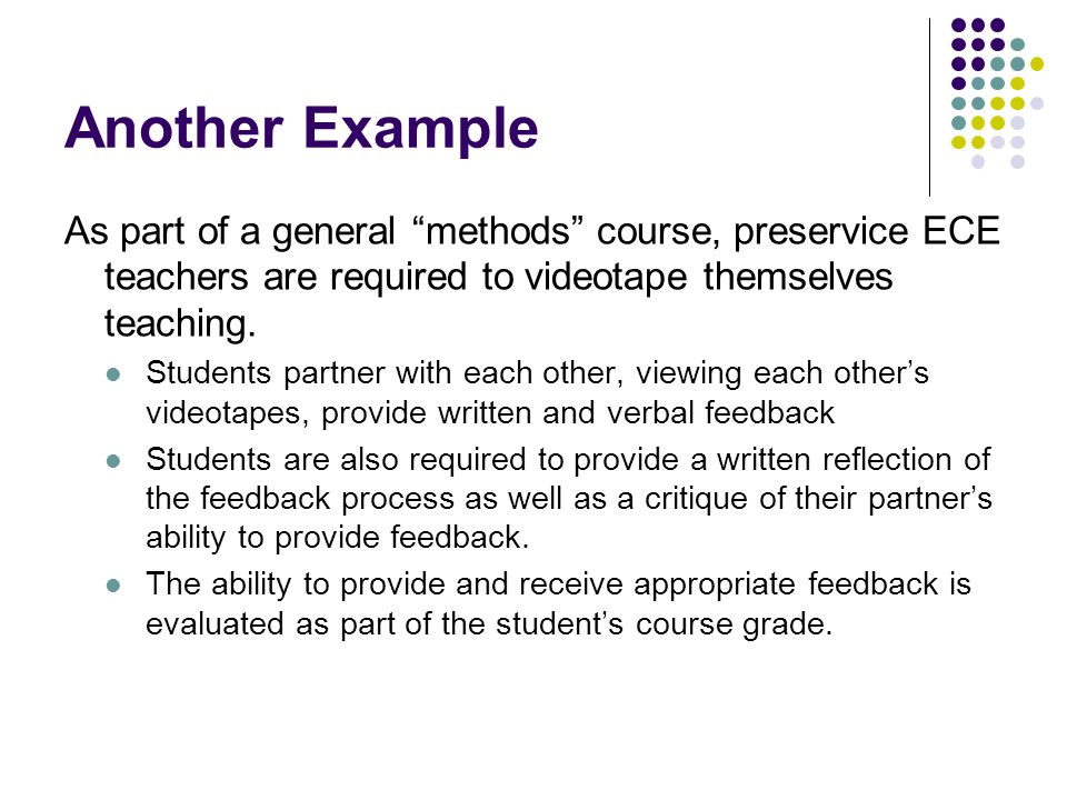 """Another Example As part of a general """"methods"""" course, preservice ECE teachers are required to videotape themselves teaching. Students partner with ea"""