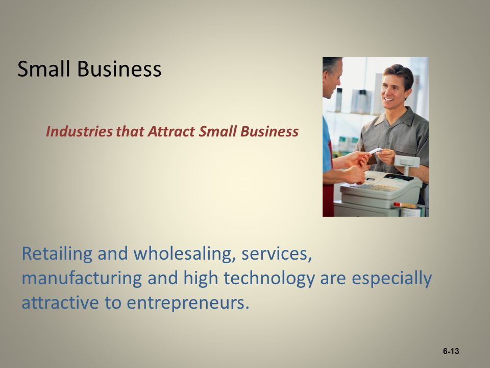 6-13 Small Business Retailing and wholesaling, services, manufacturing and high technology are especially attractive to entrepreneurs.
