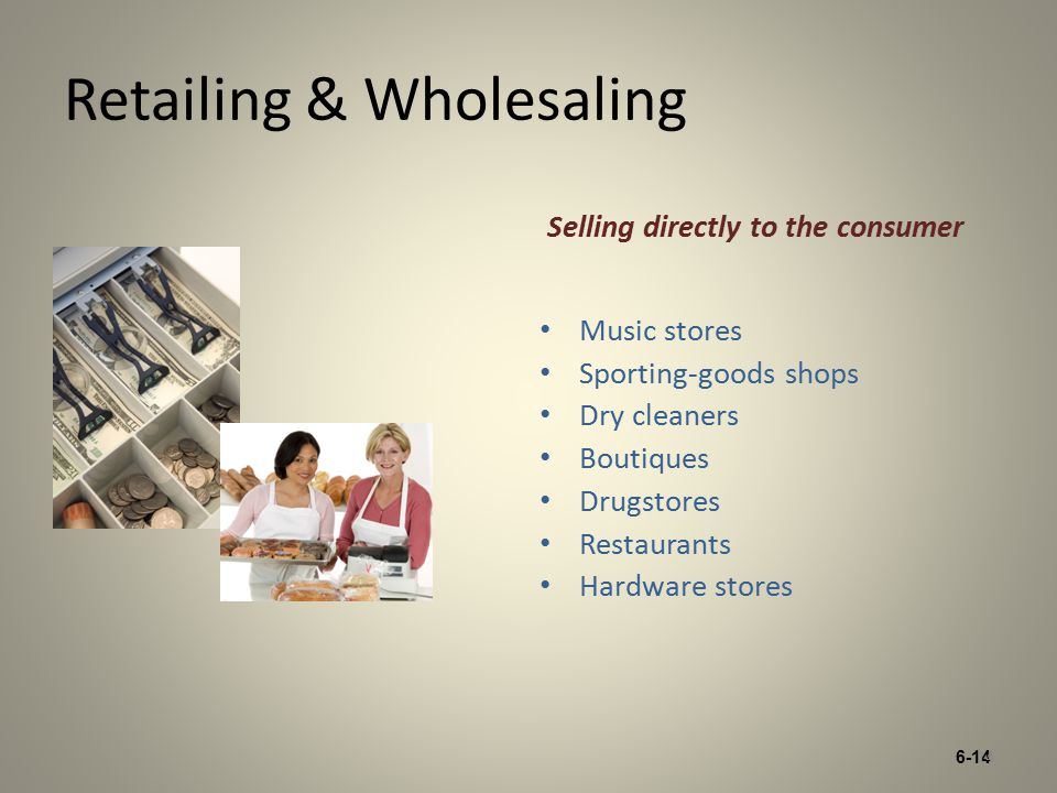 6-14 Retailing & Wholesaling Selling directly to the consumer Music stores Sporting-goods shops Dry cleaners Boutiques Drugstores Restaurants Hardware stores 14
