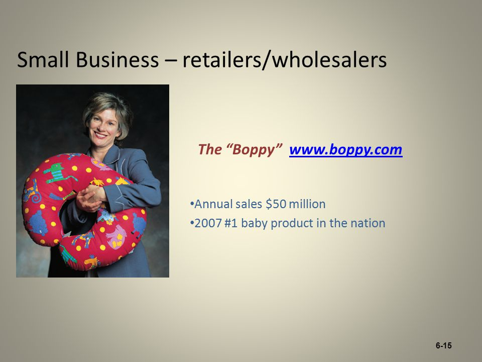 6-15 Small Business – retailers/wholesalers Annual sales $50 million 2007 #1 baby product in the nation The Boppy www.boppy.comwww.boppy.com