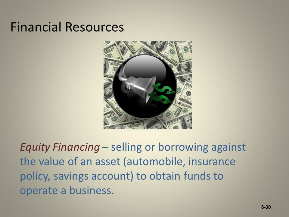 6-30 Financial Resources Equity Financing – selling or borrowing against the value of an asset (automobile, insurance policy, savings account) to obtain funds to operate a business.