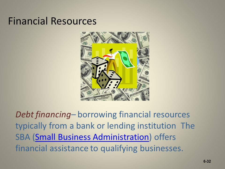 6-32 Financial Resources Debt financing– borrowing financial resources typically from a bank or lending institution The SBA (Small Business Administration) offers financial assistance to qualifying businesses.Small Business Administration