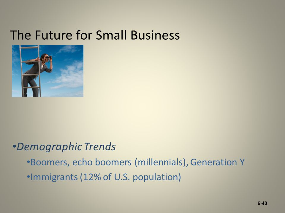 6-40 The Future for Small Business Demographic Trends Boomers, echo boomers (millennials), Generation Y Immigrants (12% of U.S.