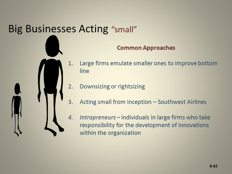 6-43 Big Businesses Acting small Common Approaches 1.Large firms emulate smaller ones to improve bottom line 2.Downsizing or rightsizing 3.Acting small from inception – Southwest Airlines 4.Intrapreneurs – individuals in large firms who take responsibility for the development of innovations within the organization