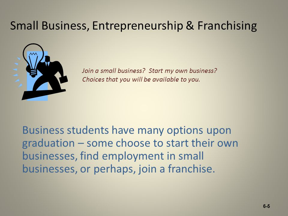 6-5 Small Business, Entrepreneurship & Franchising Business students have many options upon graduation – some choose to start their own businesses, find employment in small businesses, or perhaps, join a franchise.
