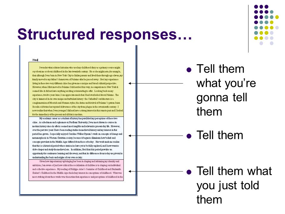 Structured responses… Tell them what you're gonna tell them Tell them Tell them what you just told them
