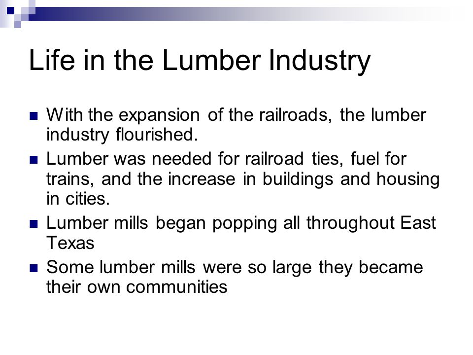 Life in the Lumber Industry With the expansion of the railroads, the lumber industry flourished.