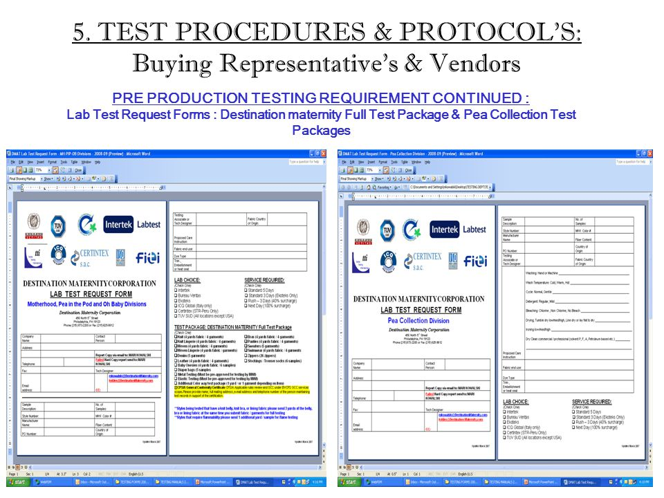 5. TEST PROCEDURES & PROTOCOL'S: Buying Representative's & Vendors PRE PRODUCTION TESTING REQUIREMENT CONTINUED : Lab Test Request Forms : Destination