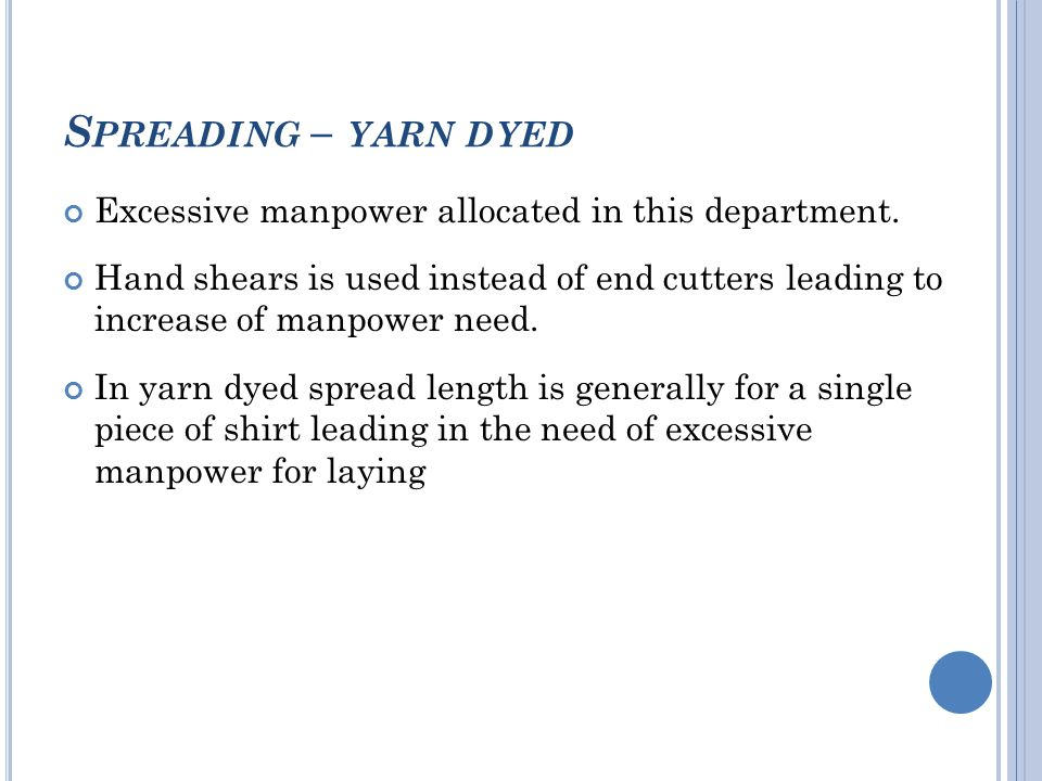 S PREADING – YARN DYED Excessive manpower allocated in this department.
