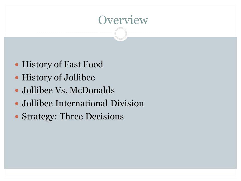 Overview History of Fast Food History of Jollibee Jollibee Vs.
