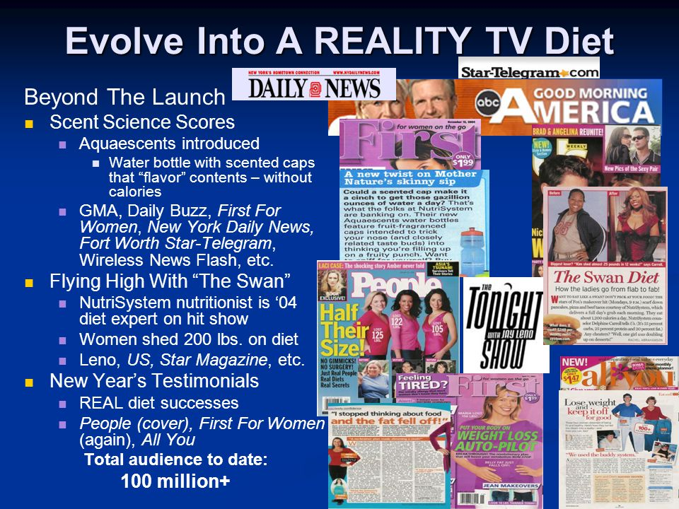 Evolve Into A REALITY TV Diet Beyond The Launch Scent Science Scores Aquaescents introduced Water bottle with scented caps that flavor contents – without calories GMA, Daily Buzz, First For Women, New York Daily News, Fort Worth Star-Telegram, Wireless News Flash, etc.
