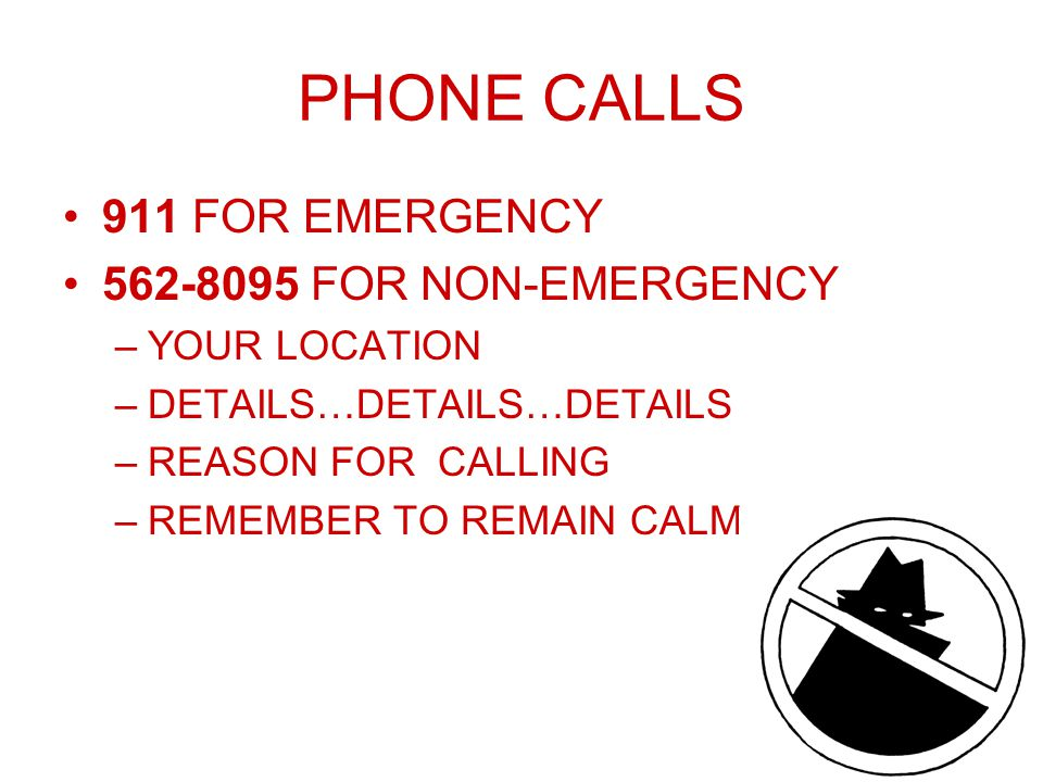 PHONE CALLS 911 FOR EMERGENCY 562-8095 FOR NON-EMERGENCY –YOUR LOCATION –DETAILS…DETAILS…DETAILS –REASON FOR CALLING –REMEMBER TO REMAIN CALM