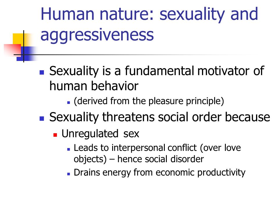 Human nature: sexuality and aggressiveness Sexuality is a fundamental motivator of human behavior (derived from the pleasure principle) Sexuality threatens social order because Unregulated sex Leads to interpersonal conflict (over love objects) – hence social disorder Drains energy from economic productivity