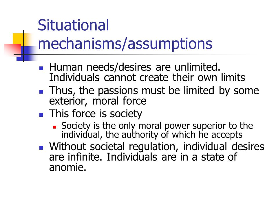 Situational mechanisms/assumptions Human needs/desires are unlimited.