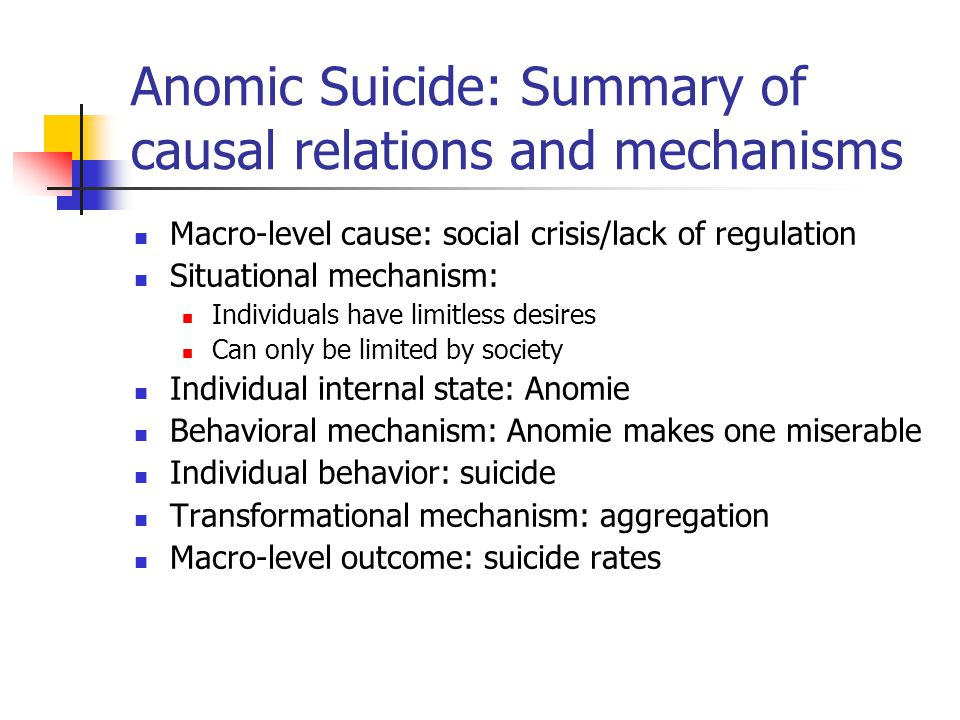 Anomic Suicide: Summary of causal relations and mechanisms Macro-level cause: social crisis/lack of regulation Situational mechanism: Individuals have limitless desires Can only be limited by society Individual internal state: Anomie Behavioral mechanism: Anomie makes one miserable Individual behavior: suicide Transformational mechanism: aggregation Macro-level outcome: suicide rates