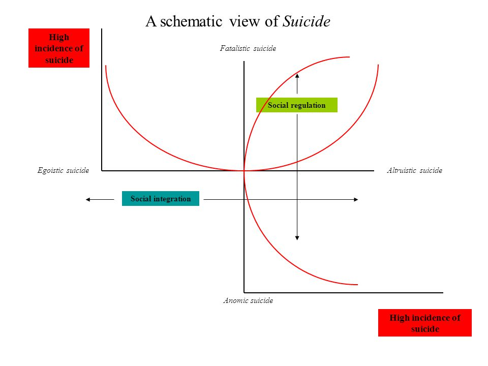 Egoistic suicideAltruistic suicide Fatalistic suicide Anomic suicide High incidence of suicide Social integration Social regulation A schematic view of Suicide High incidence of suicide