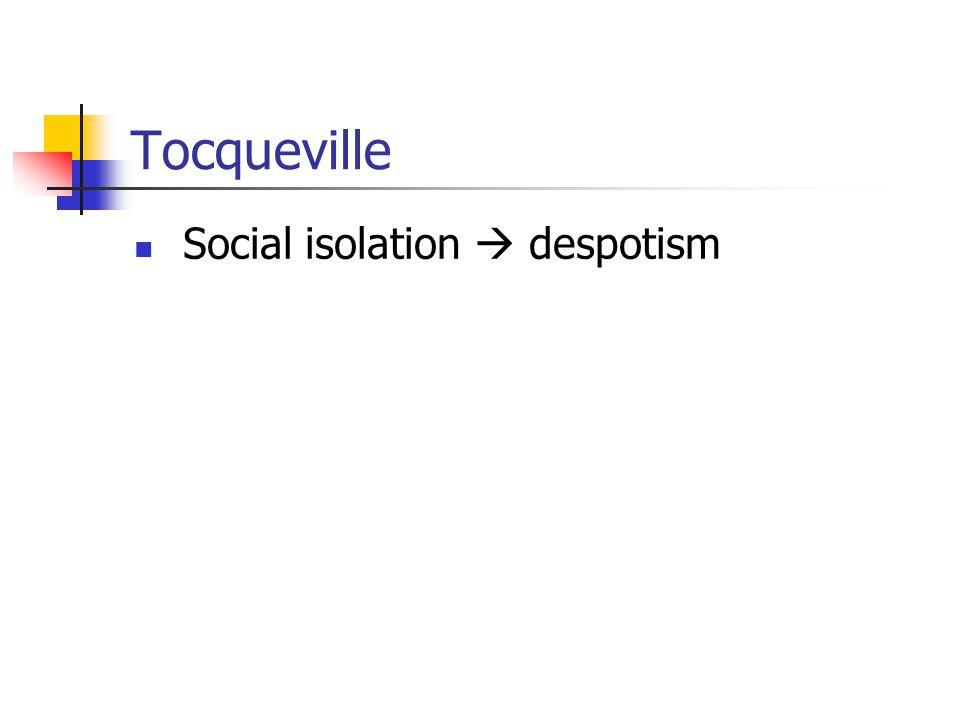 Tocqueville Social isolation  despotism