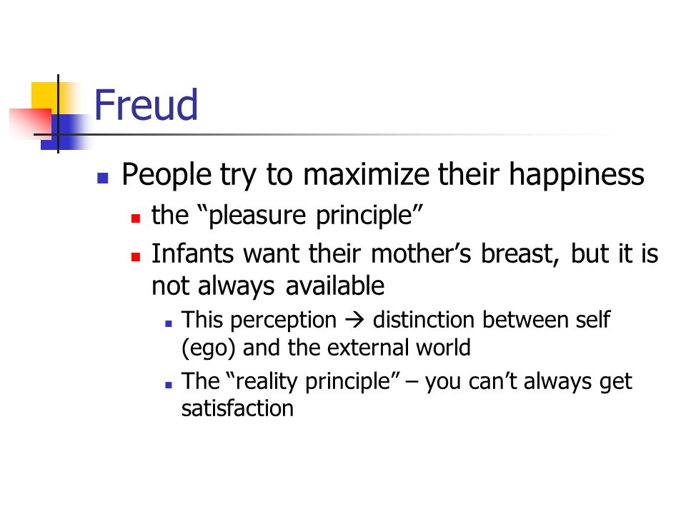 Freud, cont'd How the infant copes with the mother's absence or disapproval By taking the parent into the self (super- ego), and allowing that internal parent to monitor its behavior Evidence for the super-ego A sense of guilt