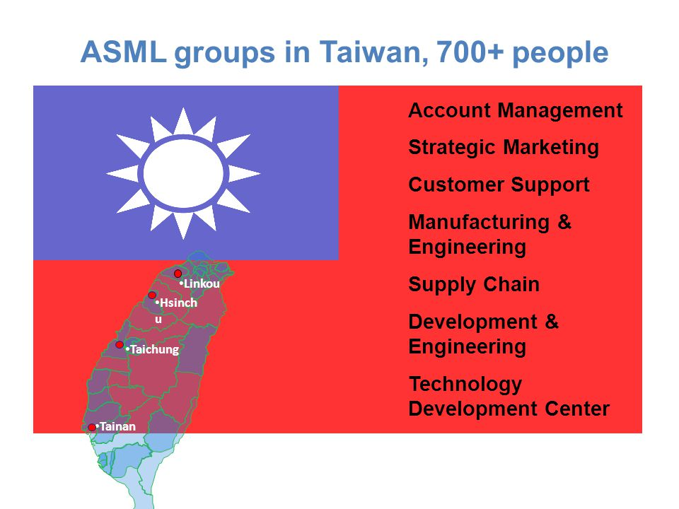 Account Management Strategic Marketing Customer Support Manufacturing & Engineering Supply Chain Development & Engineering Technology Development Center ASML groups in Taiwan, 700+ people Linkou Tainan Hsinch u Taichung