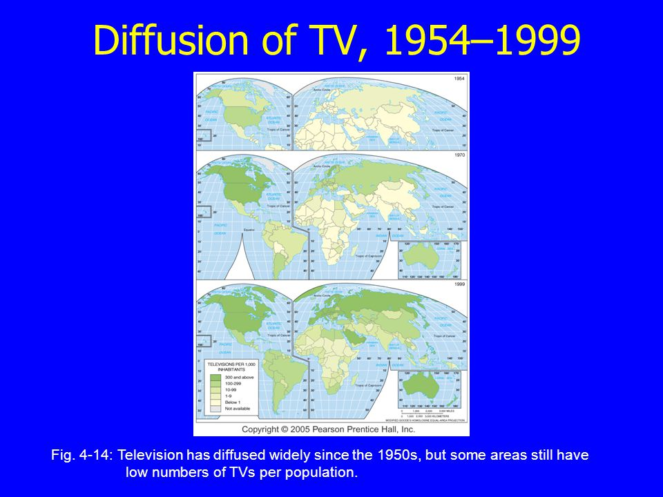 Diffusion of TV, 1954–1999 Fig. 4-14: Television has diffused widely since the 1950s, but some areas still have low numbers of TVs per population.
