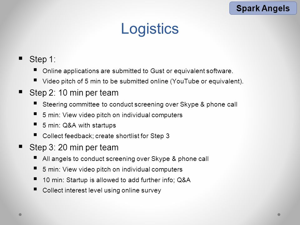 Logistics  Step 1:  Online applications are submitted to Gust or equivalent software.