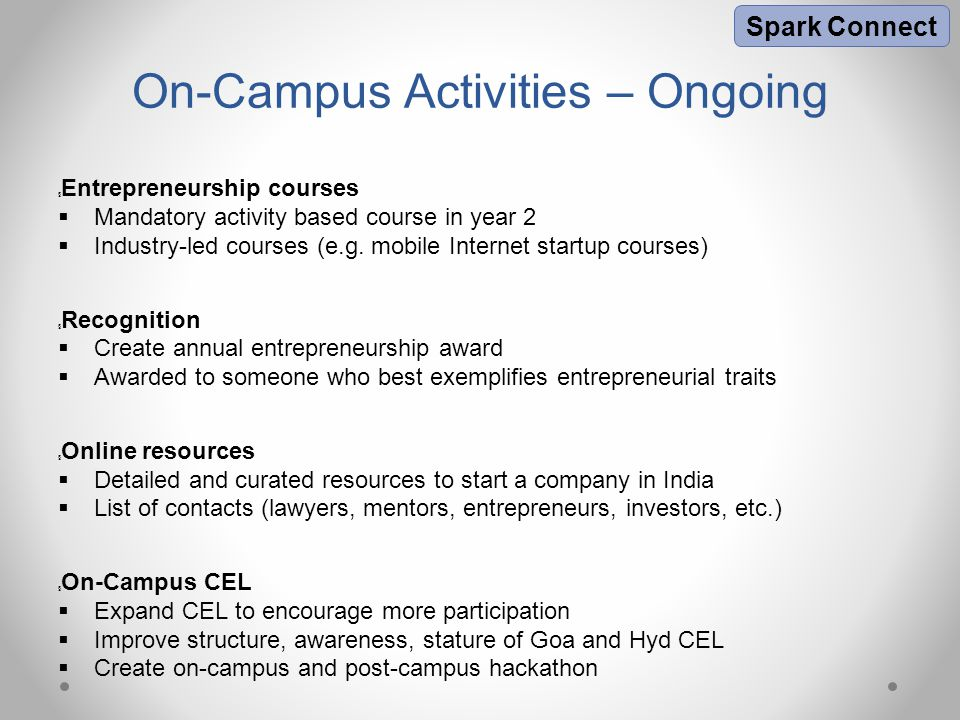 Criteria for Startups  Includes at least one current or graduated BITSian  Startup should be based in India  Demonstrate potential for substantial high growth  Should be in seed & angel stage (INR 25 lakh – 2 crore)  Selection rate will be about 3-5%  Entrepreneurs should be pursuing the startup full-time at the time of application Spark Angels